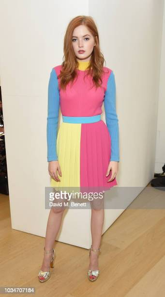 Ellie Bamber attends the Emilia Wickstead front row during London Fashion Week September 2018 at the Phillips Gallery on September 17 2018 in London...