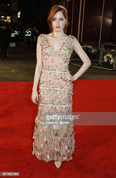 """Ellie Bamber attends the European Premiere of """"Pride And Prejudice And Zombies"""" at the Vue West End on February 1, 2016 in London, England."""