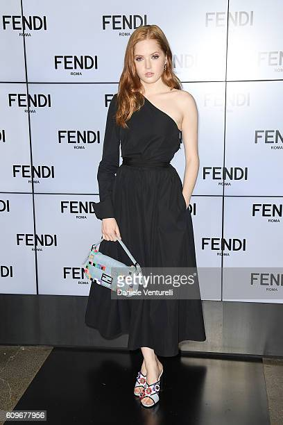 Ellie Bamber attends the Fendi show during Milan Fashion Week Spring/Summer 2017 on September 22 2016 in Milan Italy
