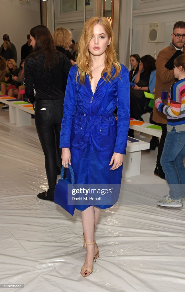 Ellie Bamber attends the Jasper Conran show during London Fashion Week February 2018 at Claridge's Hotel on February 17, 2018 in London, England.