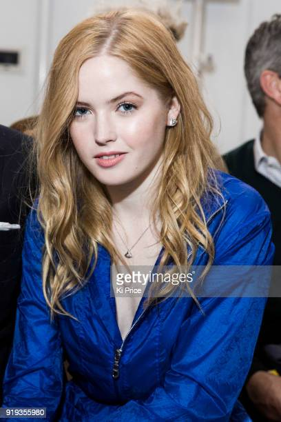 Ellie Bamber attends the Jasper Conran show during London Fashion Week February 2018 at Claridges Hotel on February 17 2018 in London England