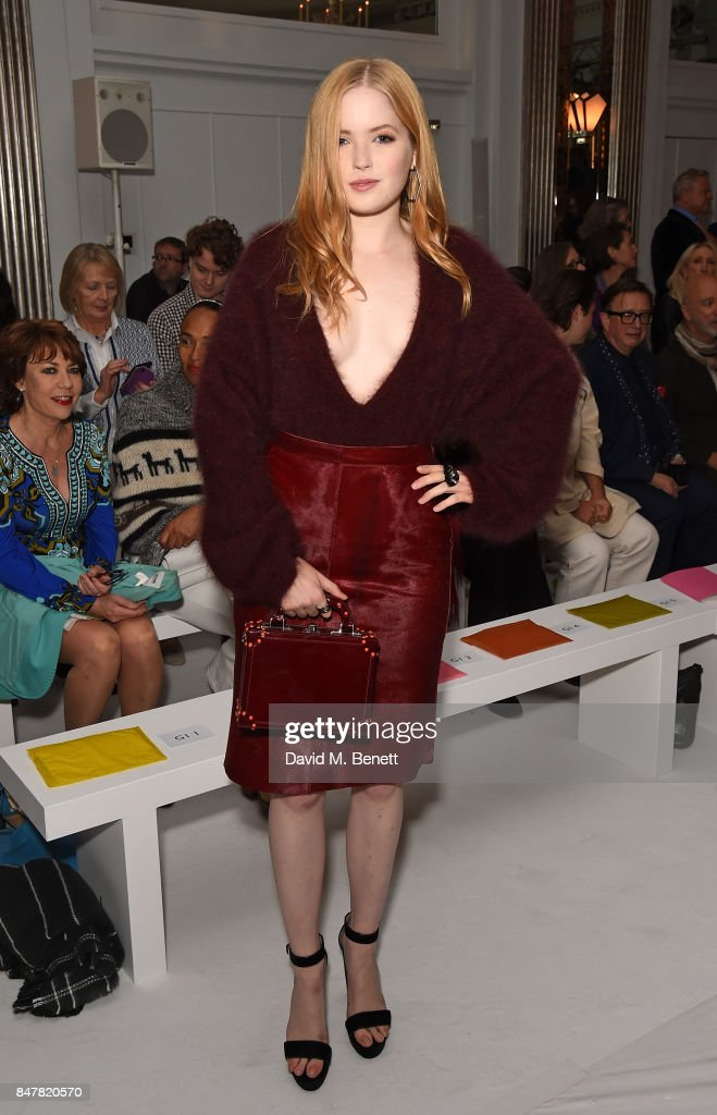 Ellie Bamber attends the Jasper Conran SS18 catwalk show during London Fashion Week September 2017 on September 16, 2017 in London, United Kingdom.