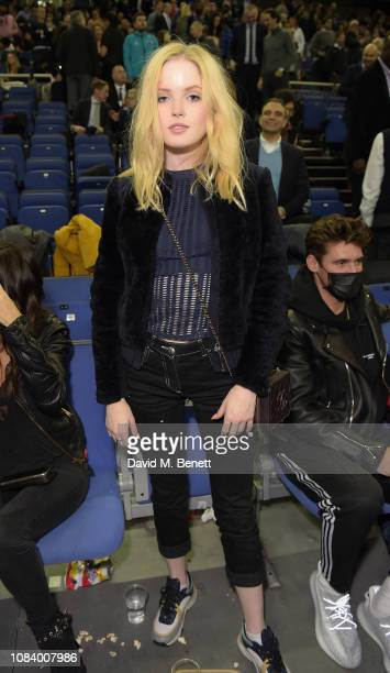 Ellie Bamber attends the NBA London Game 2019 between the Washington Wizards and New York Knicks at The O2 Arena on January 17 2019 in London England