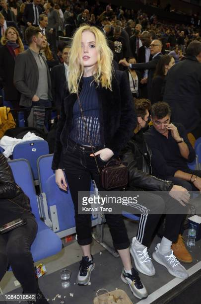 Ellie Bamber attends the Washington Wizards vs New York Knicks game at The O2 Arena on January 17 2019 in London England