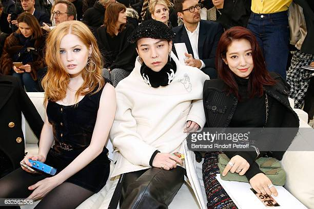 Ellie Bamber GDragon and Park ShinHye attends the Chanel Haute Couture Spring Summer 2017 show as part of Paris Fashion Week on January 24 2017 in...