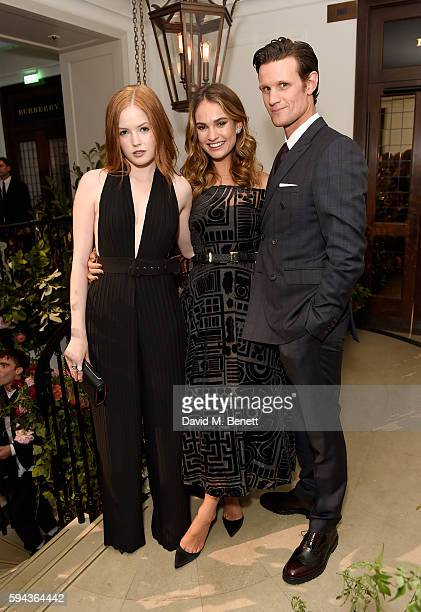 Ellie Bamber Lily James and Matt Smith attend an event hosted by Lily James to celebrate the launch of My Burberry Black at Burberry's all day cafe...