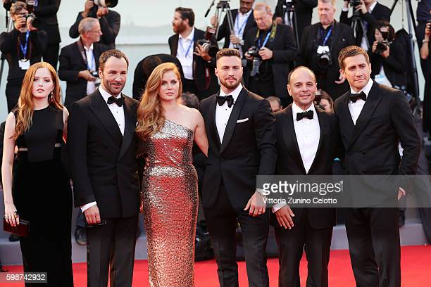 Ellie Bamber Tom Ford Amy Adams Aaron Taylor Johnson Robert Salerno and Jake Gyllenhaal attend the premiere of 'Nocturnal Animals' during the 73rd...