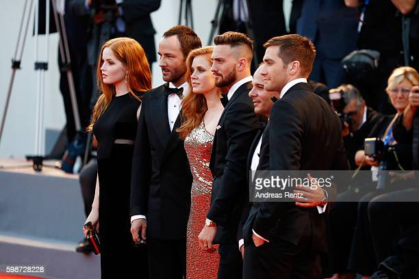 Ellie Bamber Tom Ford Amy Adams Aaron TaylorJohnson Robert Salerno and Jake Gyllenhaal attend the premiere of 'Nocturnal Animals' during the 73rd...