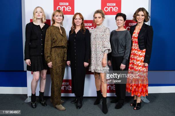 Ellie Bamber writer Amanda Coe producer Rebecca Ferguson Sophie Cookson exec producer Kate Triggs and Emilia Fox attend the UK premiere of The Trial...