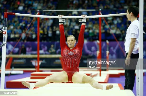 Ellie Black of Canada Performing Women's Uneven Bars during The Superstars of Gymnastics at 02 Arena London England on 23 Mar 2019