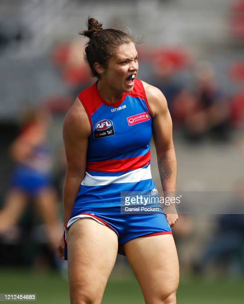 Ellie Blackburn of the Bulldogs celebrates after kicking a goal during the round six AFLW match between the Western Bulldogs and the Fremantle...