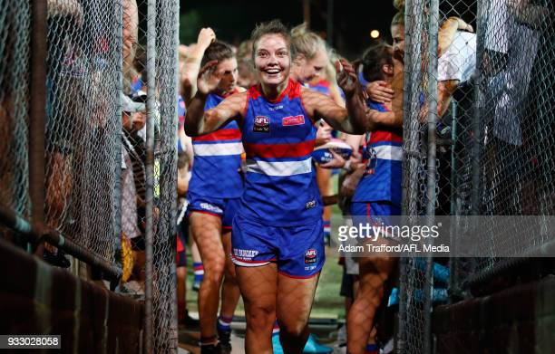 Ellie Blackburn of the Bulldogs celebrates after making it through to the grand final during the 2018 AFLW Round 07 match between the Western...