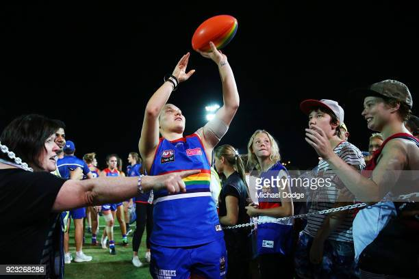 Ellie Blackburn of the Bulldogs celebrates the win with fans during the round four AFLW match between the Western Bulldogs and the Carlton Blues at...