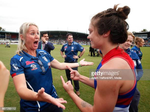 Ellie Blackburn of the Bulldogs celebrates with Debbie Lee GM of women football at the Bulldogs during the 2018 AFLW Grand Final match between the...