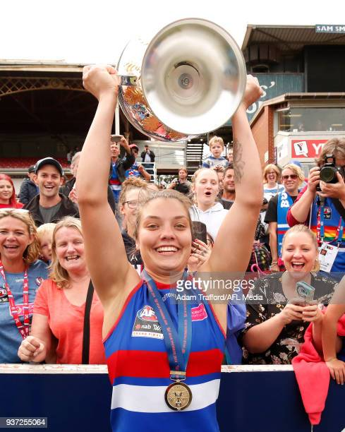 Ellie Blackburn of the Bulldogs celebrates with Premiership cup during the 2018 AFLW Grand Final match between the Western Bulldogs and the Brisbane...