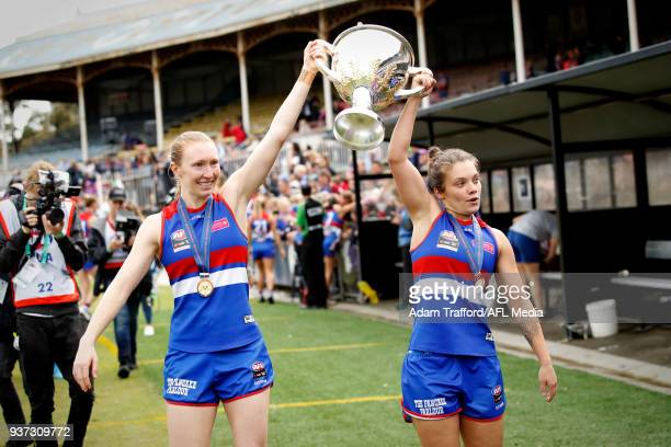 Ellie Blackburn of the Bulldogs celebrates with the premiership cup during the 2018 AFLW Grand Final match between the Western Bulldogs and the...