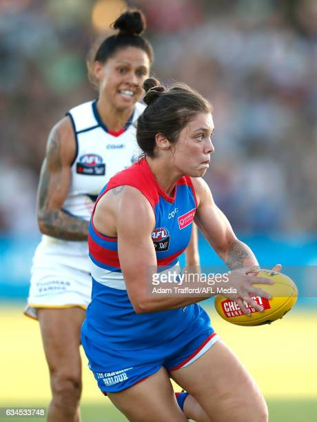 Ellie Blackburn of the Bulldogs in action during the 2017 AFLW Round 02 match between the Western Bulldogs and the Adelaide Crows at VU Whitten Oval...