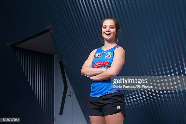 Ellie Blackburn of the Bulldogs poses for a photo during the Western Bulldogs women's AFL training session at Maribyrnong College on November 22 2016...