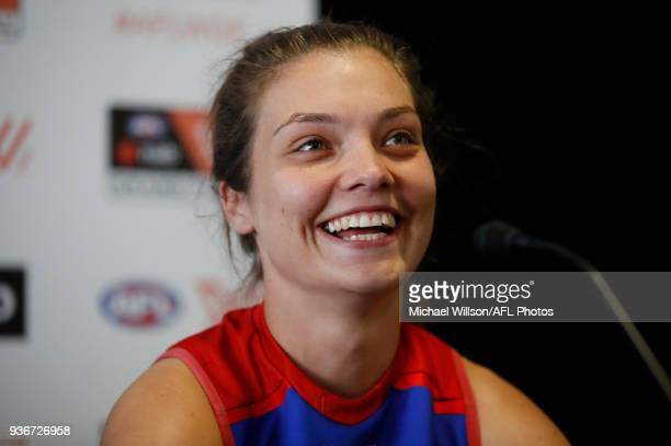 Ellie Blackburn of the Bulldogs speaks to the media during the AFLW Grand Final media opportunity at Ikon Park on March 23 2018 in Melbourne Australia