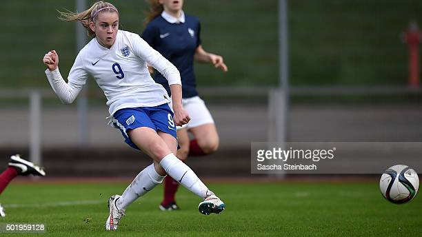 Ellie Brazil of England scores the opening goal during the U17 girl's international friendly match between France and England on December 19 2015 in...