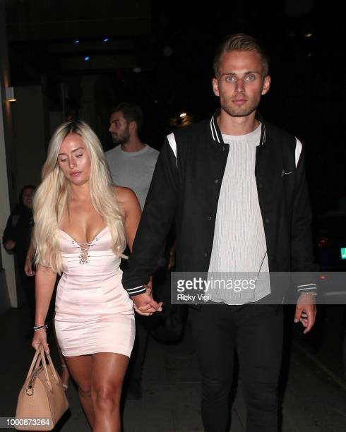 Ellie Brown and Charlie Brake seen on a night out leaving Nobu Berkeley on July 17 2018 in London England