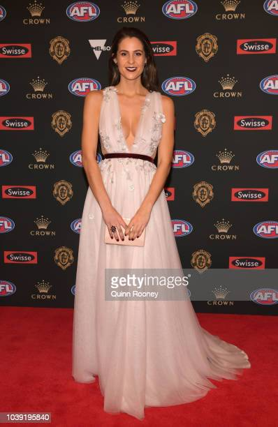 Ellie Brown the aprtner of Taylor Walker of the Crows arrives ahead of the 2018 Brownlow Medal at Crown Entertainment Complex on September 24 2018 in...
