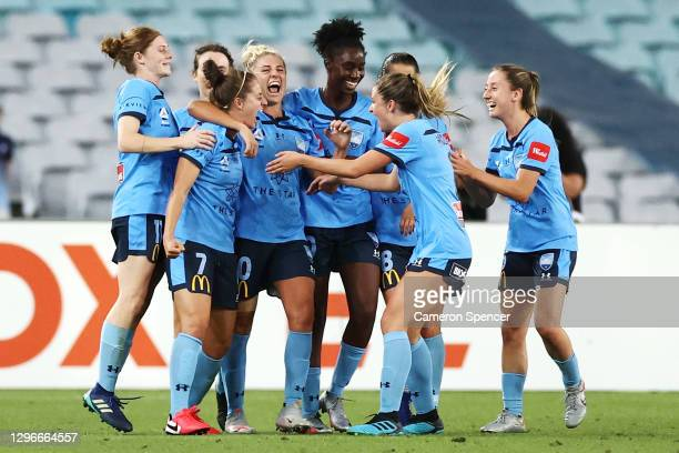 Ellie Brush of Sydney FC celebrates scoring a goal with team mates during the round four W-League match between Sydney FC and the Western Sydney...