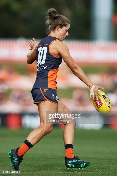 Ellie Brush of the Giants kicks the ball during the round three AFLW match between the Greater Western Sydney Giants and the Carlton Blues at...