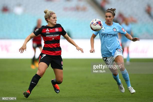 Ellie Brush of the Wanderers and Jodie Taylor of Melbourne City compete for the ball and during the round nine WLeague match between the Western...
