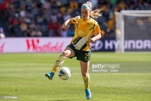 Ellie Carpenter of Australia brings down the ball during the International friendly match between the Australian Matildas and Chile at Bankwest...