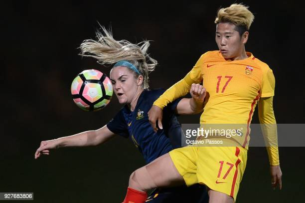 Ellie Carpenter of Australia competes for the ball with Li Ying of China during the Women's Algarve Cup Tournament match between Australia and China...