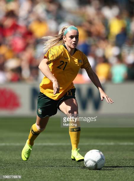 Ellie Carpenter of Australia controls the ball during the International Friendly match between the Australian Matildas and Chile at Panthers Stadium...