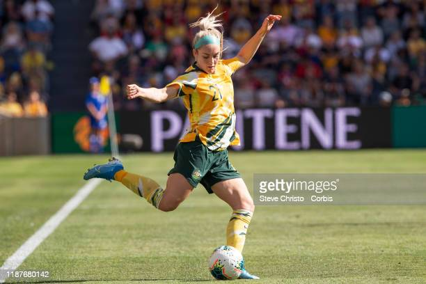 Ellie Carpenter of Australia crosses the ball during the International friendly match between the Australian Matildas and Chile at Bankwest Stadium...
