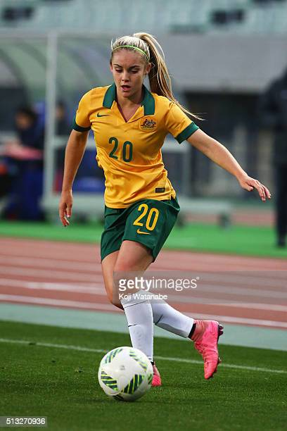 Ellie Carpenter of Australia in action during the AFC Women's Olympic Final Qualification Round match between Australia and Vietnam at Yanmar Stadium...