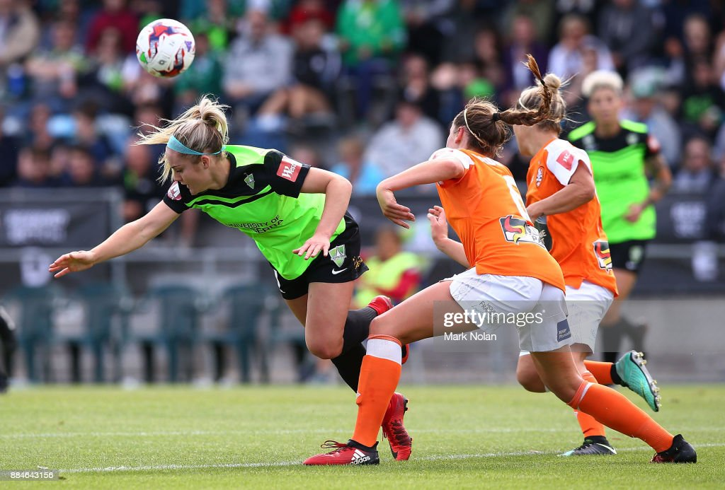 Ellie Carpenter of Canberra and Celeste Boureille of the Roar contest possession during the round six W-League match between Canberra United and the Brisbane Roar at McKellar Park on December 3, 2017 in Canberra, Australia.