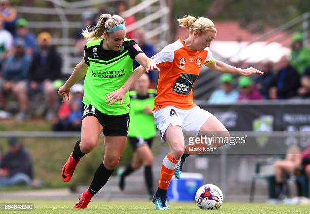 Ellie Carpenter of Canberra and Clare Polkinghorne of the Roar contest possession during the round six WLeague match between Canberra United and the...