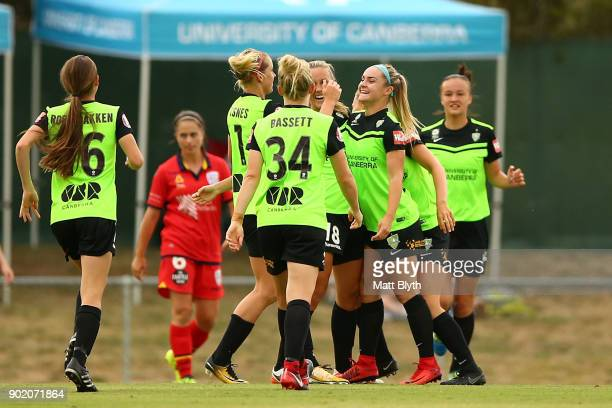 Ellie Carpenter of Canberra United FC celebrates kicking a goal during the round 10 WLeague match between Canberra United and Adelaide United at...