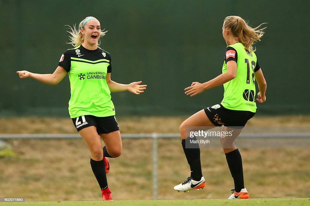 Ellie Carpenter of Canberra United FC celebrates kicking a goal during the round 10 W-League match between Canberra United and Adelaide United at McKellar Park on January 7, 2018 in Canberra, Australia.