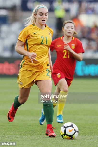 Ellie Carpenter of the Matildas runs with the ball during the Women's International match between the Australian Matildas and China PR at Simonds...
