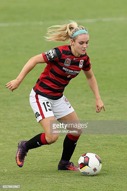 Ellie Carpenter of the Wanderers controls the ball during the round 14 WLeague match between the Western Sydney Wanderers and Perth Glory at...