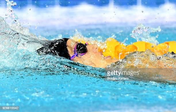 Ellie Cole competes in the Women's Backstroke S9 Para event during the 2018 Australia Swimming National Trials at the Optus Aquatic Centre on March 3...