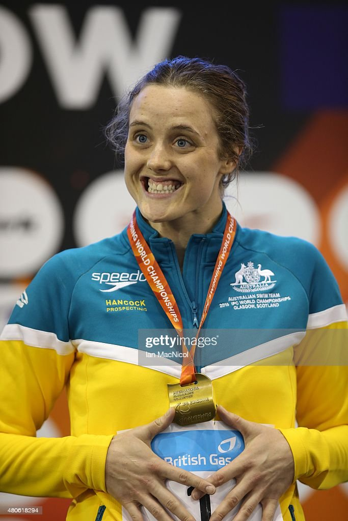 Ellie Cole of Australia poses with her gold medal from the Women's 100m Backstroke S9 during Day One of The IPC Swimming World Championships at Tollcross Swimming Centre on July 13, 2015 in Glasgow, Scotland.