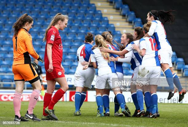 Ellie Cook of Blackburn Rovers celebrates scoring her sides second goal during the FA Women's Premier League Cup Final between Blackburn Rovers...