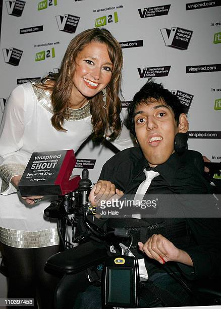 Ellie Crisell presents Sulaiman Khan with the Shout Award at the Vinspired awards at Indigo2 at O2 Arena on March 17 2011 in London England