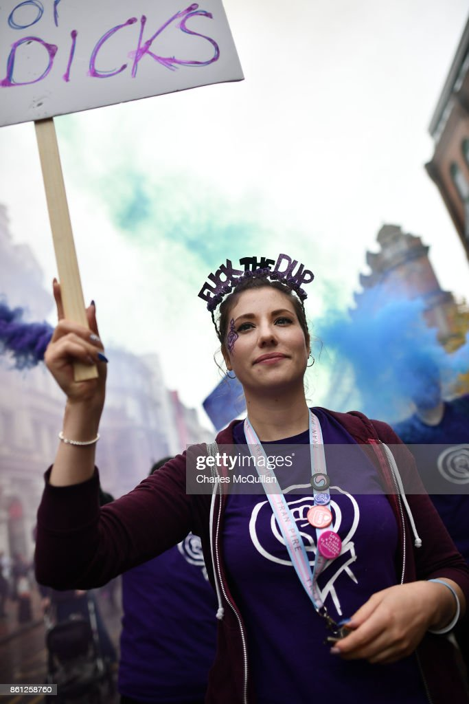 Ellie Evans, who has been questioned by police for holding a placard with the slogan 'Fuck the DUP' at a previous Gay Pride march wears a head dress sporting the same statement as protestors take part in the Rally for Choice march on October 14, 2017 in Belfast, Northern Ireland. The pro choice marchers are demanding equal abortion rights with the rest of the United Kingdom and changes to the current law in Northern Ireland that sees abortions only available in fatal foetal abnormality cases. Abortion is legal in the rest of the United Kingdom. In 2016 a 21 year old woman from the province was given a suspended sentence at Belfast Crown Court after buying drugs on the internet to induce a miscarriage.