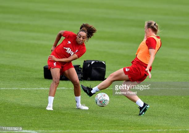 Ellie Fletcher and Jemma Purfield of Liverpool Women during a training session at Solar Campus on September 04 2019 in Wallasey England