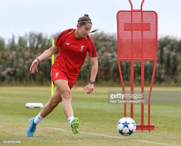 Ellie Fletcher of Liverpool FC Women during a training session on July 20 2018 in Wirral Merseyside