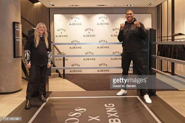 Ellie Goulding and Anthony Joshua attend the unveiling of the BOSS x AJBXNG second capsule collection at BOSS Store, Regent Street, on February 24,...