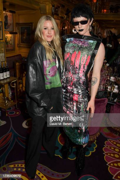 Ellie Goulding and Bimini Bon Boulash attend the BFC Changemakers Prize, in partnership with Swarovski, at Annabel's on September 21, 2021 in London,...