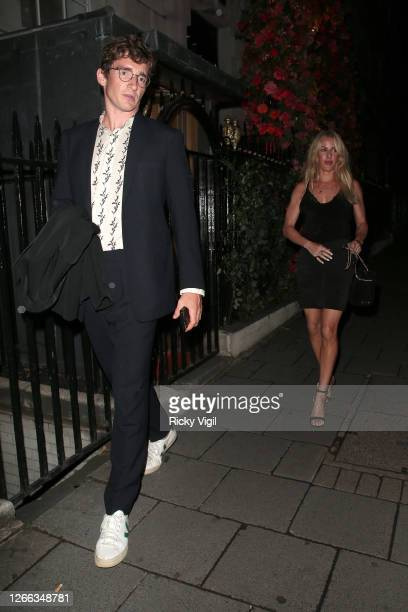 Ellie Goulding and Caspar Jopling are seen on a date night at Annabel's member club in Mayfair on August 14 2020 in London England